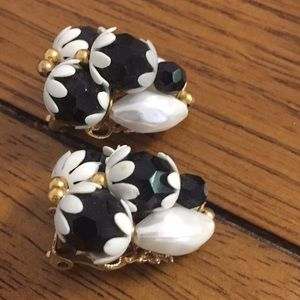 Vintage Black and White vintage clip earrings